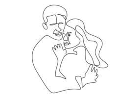 kontinuierliche Strichzeichnung. romantisches Paar. Liebhaber Thema Konzept Design. emotionale Hand des Minimalismus gezeichnet von Mann und Mädchen. Gut für Valentinstagskarte, Banner und Poster. vektor