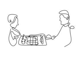 kontinuerlig en linjeteckning av två personer som spelar schack. fokusera på att spela. schackpjäser och drottningar. schack sport koncept. vektor illustration.