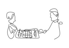 fortlaufende einzeilige Zeichnung von zwei Personen, die Schach spielen. Konzentriere dich auf das Spielen. Schachfiguren für Bauern und Königinnen. Schach Sport Konzept. Vektorillustration. vektor