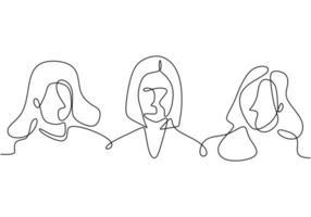 kontinuerlig en linje ritning vacker ung kvinna med inre skönhet. älskvärd och smart kvinna. vacker och söt kvinna. bemyndigande kvinnokoncept. vektor illustration