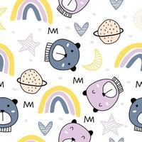nahtloses kindliches Muster mit niedlichen Bären auf Wolken, Regenbogen, Mond, Sternen. süße Cartoon-Teddybären. Vektor Baby Hintergrund.