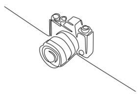 digital kamera en linje ritning. vektor illustration gadget teknik koncept.