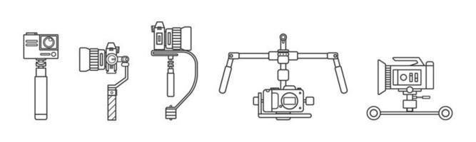 handhållen steadicam kamera stabilisator ikonuppsättning vektor