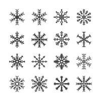 samling av snöflinga ikoner vektor