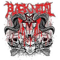 schwarzer Metallschädel vektor