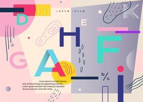 Alphabet-abstrakter Memphis-Hintergrund-Vektor flach vektor