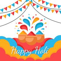 Glad Holi Festival of Color Vector