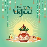 Illustration für glückliches Ugadi mit der netten und schönen Designillustration