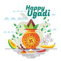 Fröhliches Ugadi. Schablonen-Gruß-Karte Traditionelles festliches indisches Lebensmittel