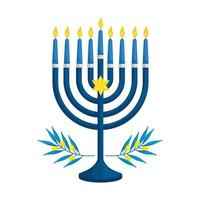 Kronleuchter mit Kerzen und Olivenzweigen isolierte Ikone vektor