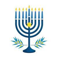ljuskrona med ljus och olivgrenar isolerade ikon