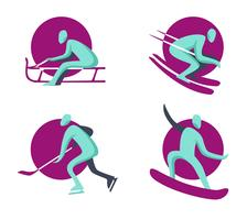 Wintersport-olympische Logo-flache Sammlung
