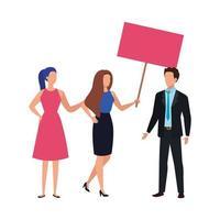 Geschäftsleute mit Protestplakat isolierte Ikone vektor