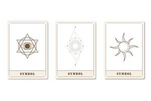 uppsättning astrologiska trendiga kort med geometriska ikoner