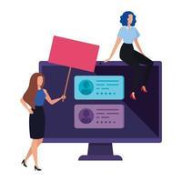 Geschäftsfrauen mit Computer zur Online-Abstimmung vektor