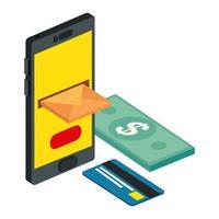 Briefumschlagpost mit Smartphone und Rechnungen