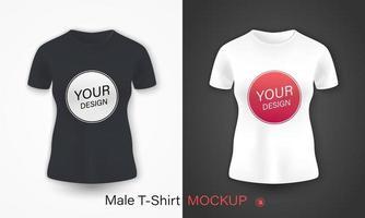 realistisches Modell-Set des Damen-T-Shirts vektor