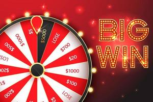Casino Spinning Glücksrad Vektor Banner Vorlage