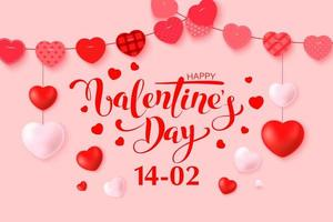 glücklicher Valentinstag Grußkartenentwurf mit Rahmen vektor