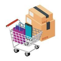 Box-Paket mit Einkaufswagen und Symbolen vektor