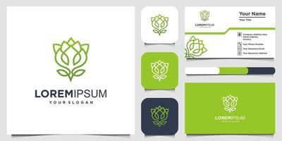 blomma logotyp design med linje konst stil och visitkort