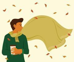 Mann mit großem Schal ist draußen für die Jahreszeit der Herbsttapete.