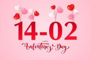 glücklicher Valentinstag Grußkartenentwurf vektor