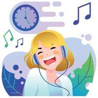 junges Mädchen, das Musik hört vektor