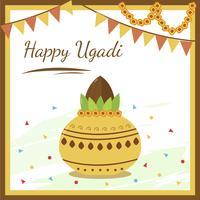 Glad Ugadi, Semester i Indien Vektor