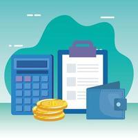 mynt pengar dollar med plånbok och checklista vektor