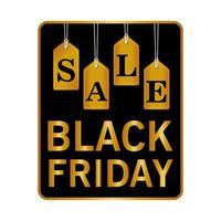 svart fredag försäljning bokstäver i fyrkantig ram och gyllene bokstäver hängande