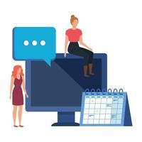 junge Frauen mit Desktop-Charakteren vektor