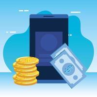 räknar pengar med mynt och smartphone vektor