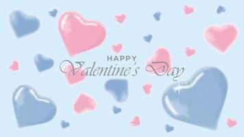 glücklicher Valentinstaghintergrund mit realistischen dekorativen Designobjekten vektor