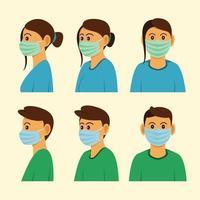 Menschen tragen Masken mit drei verschiedenen Seiten.
