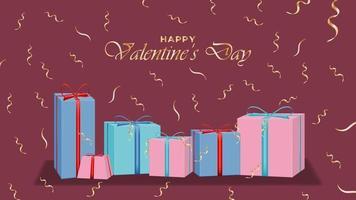 glücklicher Valentinstaghintergrund mit realistischen Geschenkbox-Designobjekten vektor