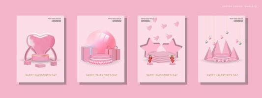 glücklicher Valentinstag stellte Hintergrund ein vektor