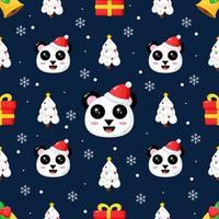 jul sömlösa mönster med söt panda vektor