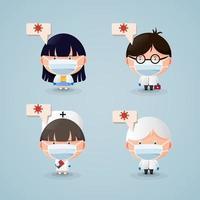 Ärzte und Krankenschwestern mit Comicfiguren, die medizinische Masken tragen vektor