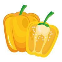 frisches Gemüse gelber Pfeffer gesundes Nahrungsmittelikone