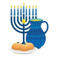 Kronleuchter mit Teekanne und Brot isolierte Ikone