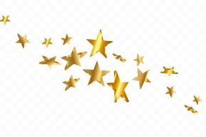 3d-stjärnor som faller. guldgul stjärnklar bakgrund. vektor konfetti stjärna bakgrund.
