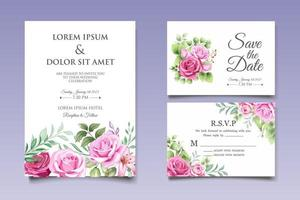 vacker hand ritning blommig bröllop inbjudan mall