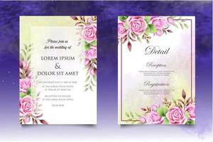 schöne Handzeichnung Blumenhochzeitseinladungsschablone