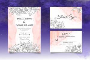 Handzeichnung Blumenhochzeitseinladungskarte