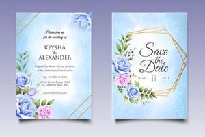 hand ritning blommig bröllop inbjudningskort