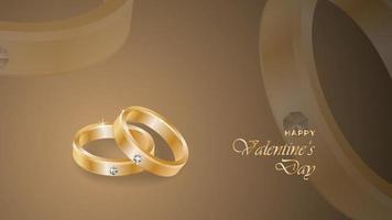 glücklicher Valentinstaghintergrund mit realistischen Ringdesignobjekten vektor
