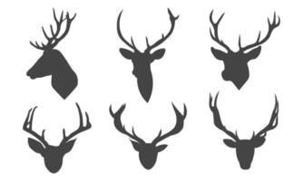 vektor illustration av djur hjort huvud silhuetter samling