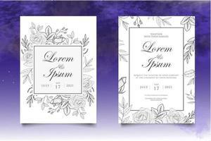 schöne Handzeichnung Blumenhochzeitseinladungsschablone vektor