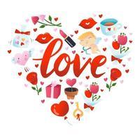 super söt alla hjärtans dag dekoration vektor